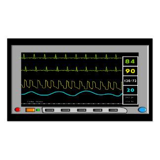 Tarjetas de visita del monitor cardiaco