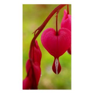 Tarjetas de visita del negocio del corazón sangran