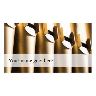 Tarjetas de visita del organista - tubos de oro