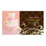 Tarjetas de visita del pastel de bodas del rosa/de