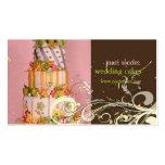Tarjetas de visita del pastel de bodas del rosa y