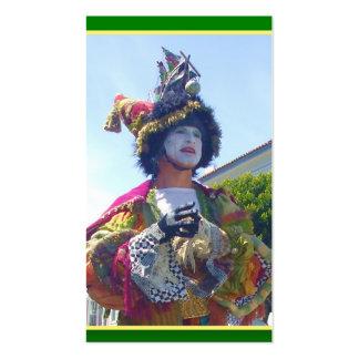 Tarjetas de visita del payaso de Mardis Gras