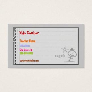 Tarjetas de visita del profesor de escuela