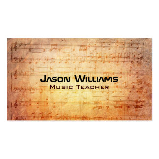 Tarjetas de visita del profesor de música
