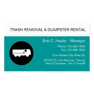 Tarjetas de visita del retiro de los desperdicios