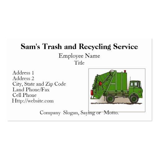 Tarjetas de visita del verde del camión de basura