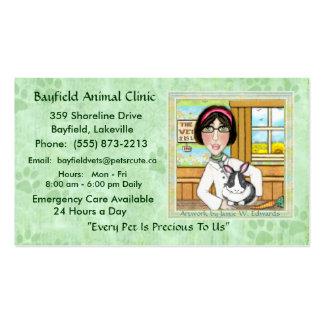 Tarjetas de visita del veterinario y del conejo de