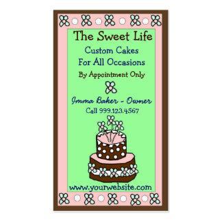 Tarjetas de visita dulces de la torta de la vida