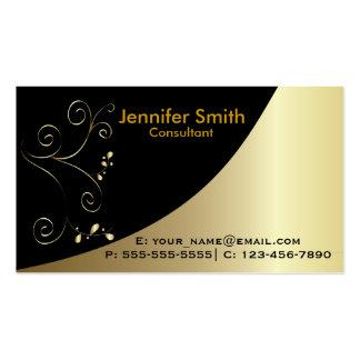 Tarjetas de visita elegantes negras del oro