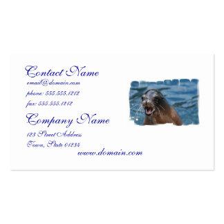 Tarjetas de visita enojadas del león marino