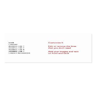 Tarjetas de visita flacas blancas estándar del baj