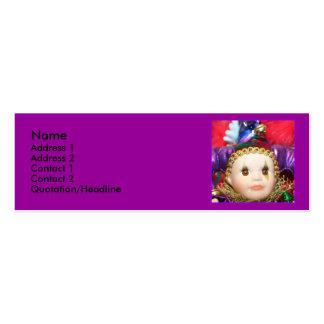 Tarjetas de visita flacas de la muñeca del payaso