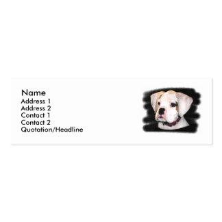 Tarjetas de visita flacas del perrito blanco del b