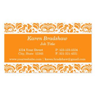 Tarjetas de visita florales anaranjadas del