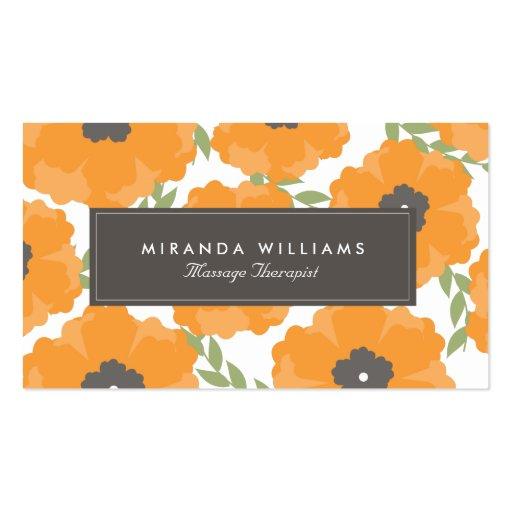 Tarjetas de visita florales anaranjadas elegantes