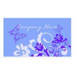 Tarjetas de visita florales azules de la mariposa