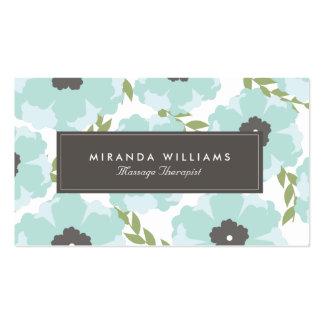 Tarjetas de visita florales azules elegantes -
