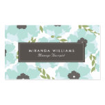 Tarjetas de visita florales azules elegantes