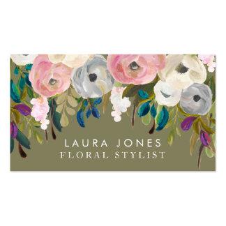 Tarjetas de visita florales del estilista del