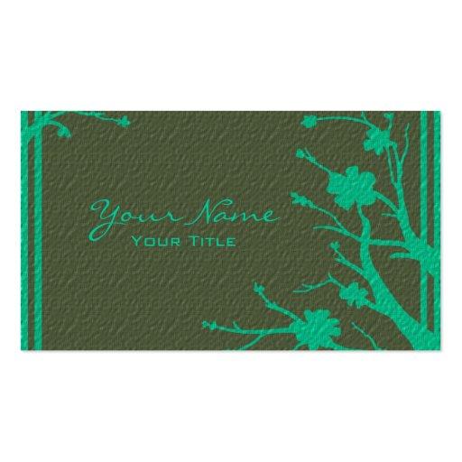 Tarjetas de visita florales del tema del verde de