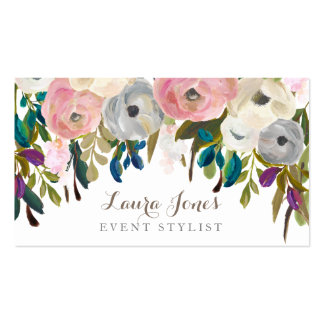 Tarjetas de visita florales pintadas del estilista