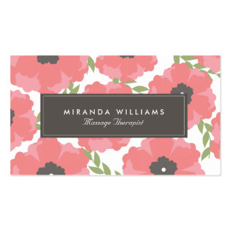 Tarjetas de visita florales rosadas elegantes