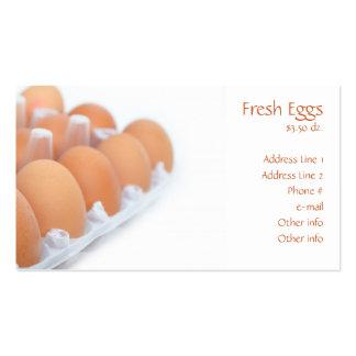 Tarjetas de visita frescas de los huevos