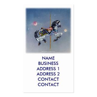 Tarjetas de visita grises del caballo del carrusel