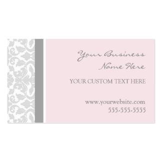 Tarjetas de visita grises rosadas elegantes del