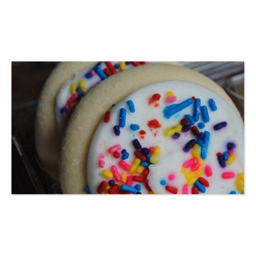 Tarjetas de visita heladas de las galletas de azúc