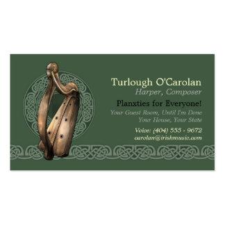 Tarjetas de visita irlandesas de la arpa, estilo