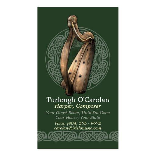 Tarjetas de visita irlandesas de la arpa, estilo 2