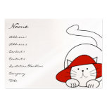 Tarjetas de visita lindas del gato del gatito Red