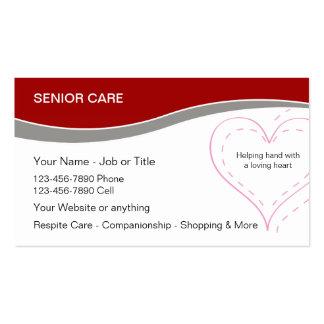 Tarjetas de visita mayores de los cuidados en casa
