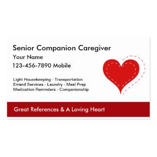 Tarjetas de visita mayores del cuidador