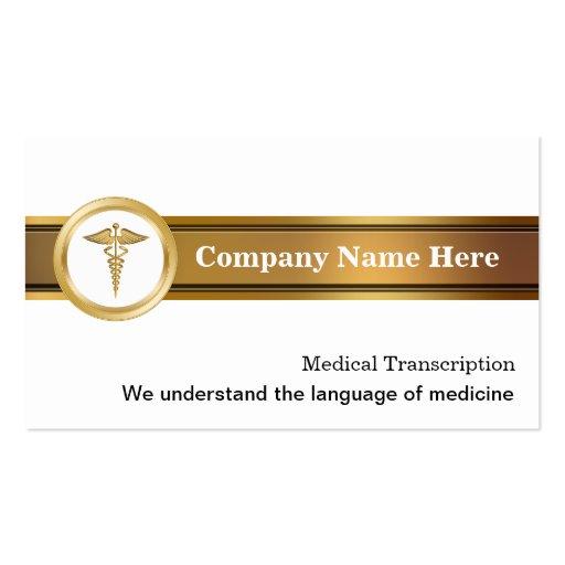 Tarjetas de visita médicas de la transcripción