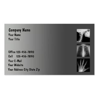 Tarjetas de visita médicas del rayo de X