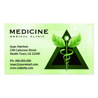 Tarjetas de visita médicas del símbolo del caduceo