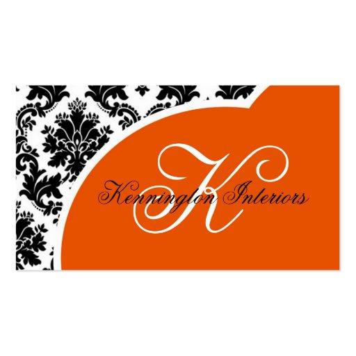 Tarjetas de visita negras anaranjadas del damasco