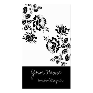 Tarjetas de visita negras/blancas del diseño flora