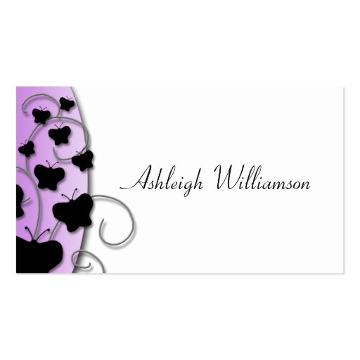 Tarjetas de visita negras elegante púrpuras de las