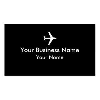Tarjetas de visita negras simples del avión blanco