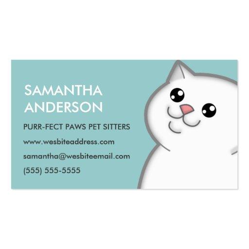 Tarjetas de visita personalizadas gato blanco gord