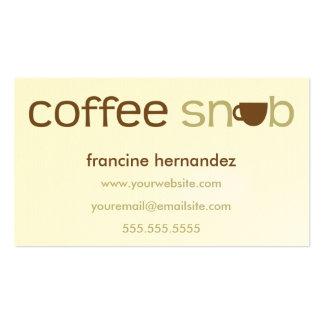 Tarjetas de visita personalizadas snob del café