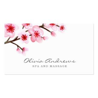 Tarjetas de visita pintadas de las flores de cerez