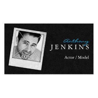 Tarjetas de visita polaroid de cuero del actor del