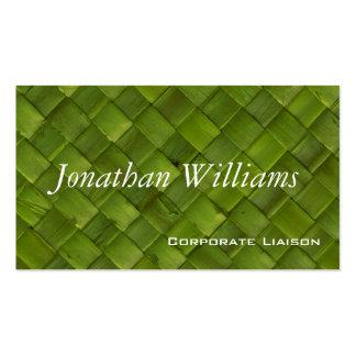 Tarjetas de visita profesionales tejidas verde de
