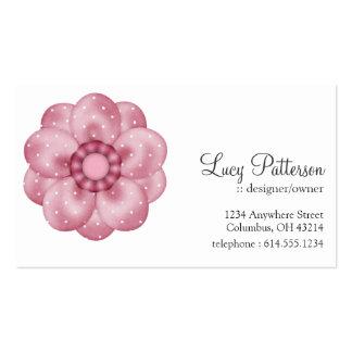 Tarjetas de visita punteadas rosa bonito de la flo