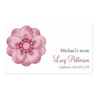 Tarjetas de visita punteadas rosa bonito de la mam