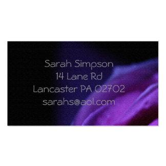 tarjetas de visita púrpuras de la flor